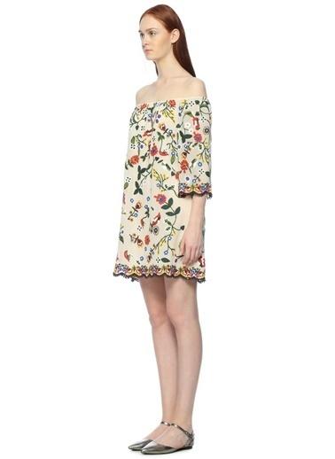 Alice+Olivia Kayık Yaka Çiçekli Mini Elbise Ten